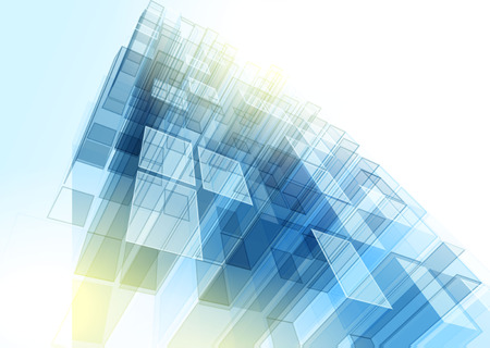 technologies: Modern blue glass wall of office building. Vector Illustration