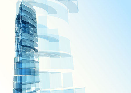 reflection internet: Modern blue glass wall of office building. Vector Illustration
