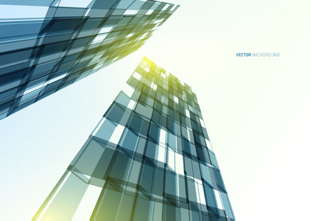Modern blue glass wall of office building. Vector Stock Vector - 43892641