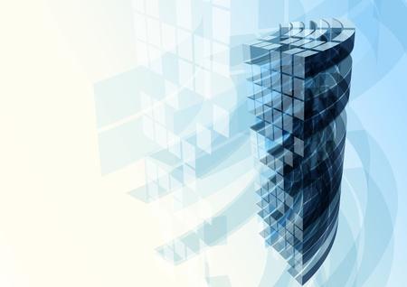 Modern blue glass wall of office building. Vector Standard-Bild