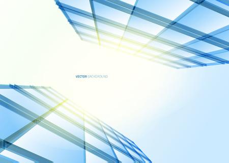 Modern blue glass wall of office building. Vector Vettoriali