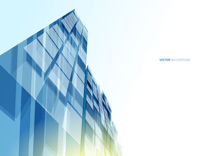 Modern blue glass wall of office building. Vector Vettoriali