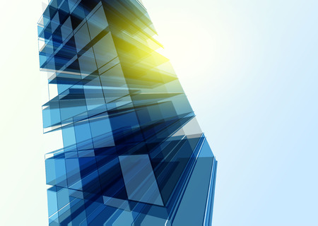 blue metal: Modern blue glass wall of office building. Vector Illustration