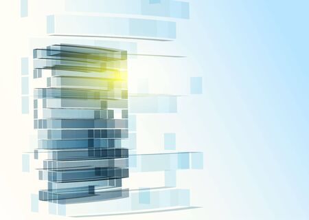 architecture: Modern blue glass wall of office building. Vector Illustration