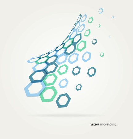 techincal: Abstract color wave hexagons template. Vector illustration
