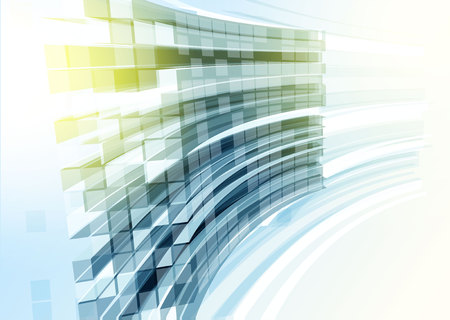 Modern blue glass wall of office building. Vector Illustration