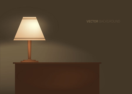 empty table: lamp on the table. Vector illustration.