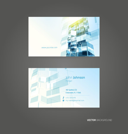 Business blue card vector background. Template design Ilustrace