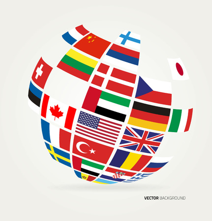 globe illustration: Flags of the world in globe. Vector illustration.