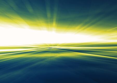 optical: Colorful rays of light. Abstract blue background. Stock Photo