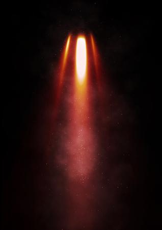 voiture de pompiers: Flames éclatent à partir d'une fusée sur un fond noir