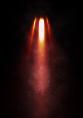 flames: Flames erupt from a rocket on a black background Stock Photo