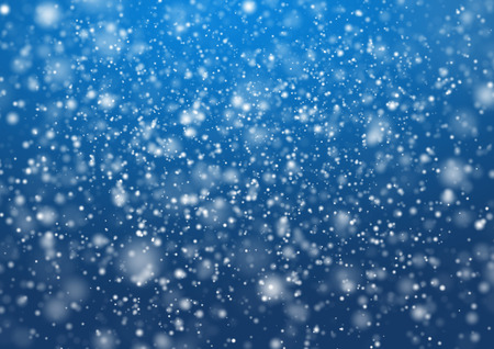 Falling snow on the blue background. illustration design Stock Photo