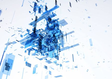 Abstract modern blue wall of office building. Template design