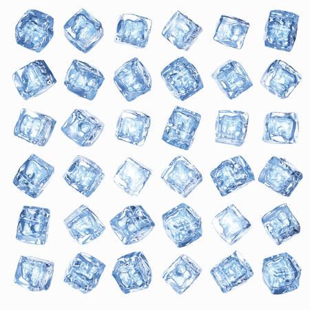 The wall of ice cubes on a white background Foto de archivo
