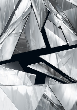 all in: Abstract pieces of metal flying in all directions Stock Photo