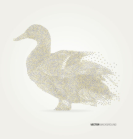 retro style: Abstract geometric duck vector illustration. Design element.