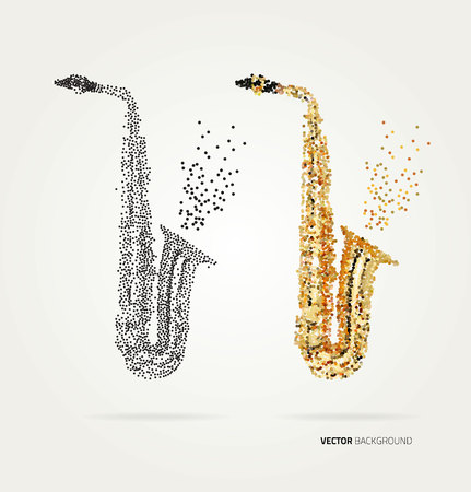halftone dots: Abstract saxophone of colored dots. Template design Illustration