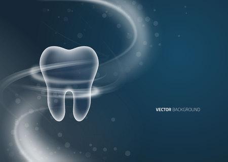 Dental background design, transparent tooth with dots Ilustração