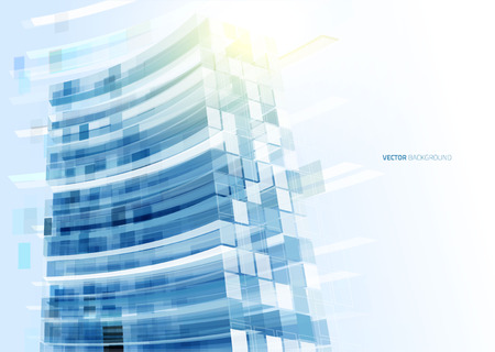 pane: Modern blue glass wall of office building. Vector Illustration