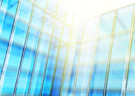 Modern blue glass wall of office building. Vector Banco de Imagens