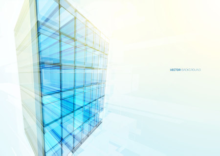 office building: Modern blue glass wall of office building. Vector Illustration