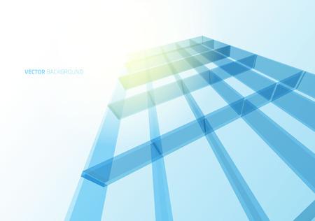 Modern blue glass wall of office building. Vector Ilustração