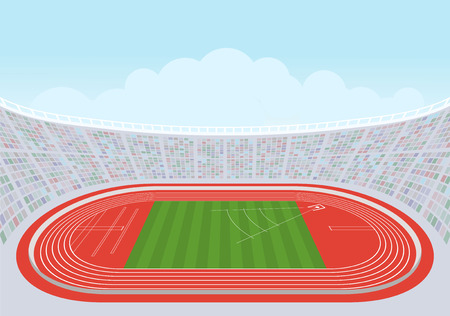 Athletics stadium for competitions. Template design