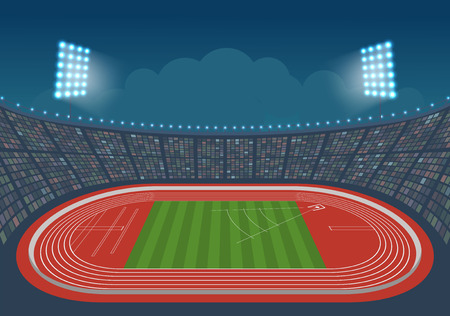 overture: Athletics stadium for competitions. Vector. Template design