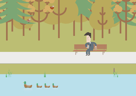 workday: Businessman on a bench at lunchtime. Vector Illustration