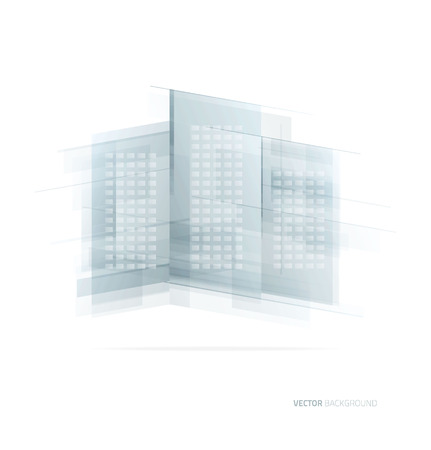 glass office: Modern blue glass wall of office building. Vector Illustration