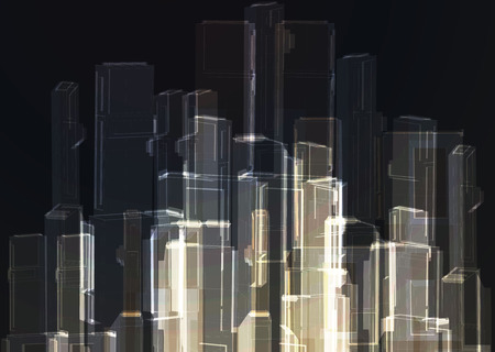 glass office: Modern abstract glass wall of office building. Vector Illustration