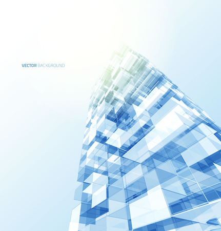 commercials: Modern blue glass wall of office building. Vector Illustration