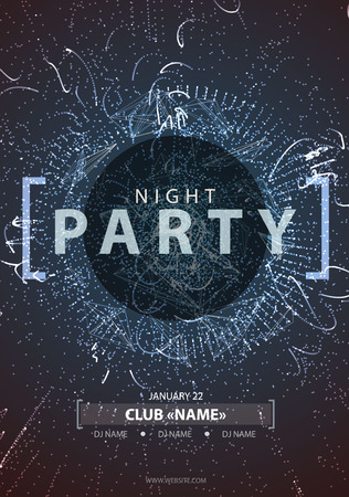 Night Disco Party Poster Background