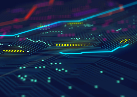 Electronic computer hardware technology. Template design Stock Photo
