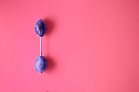Barbell from plums on a pink background