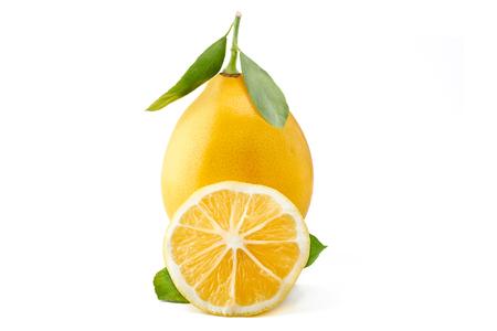 lemon fruit with leaf isolated on white background