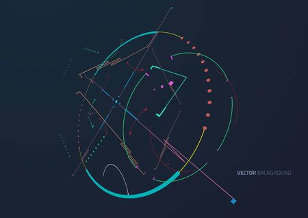 Abstract lines techno background. The system code. Illustration