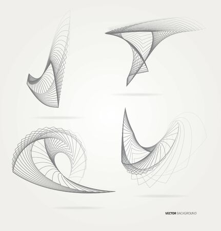Abstract forms from lines. Vector.