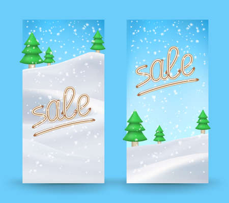 Winter sale background with banner and snow. Sale. Winter sale.