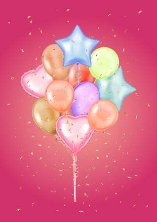 Colorful Bunch of Birthday Balloons Flying for Party and Celebrations.