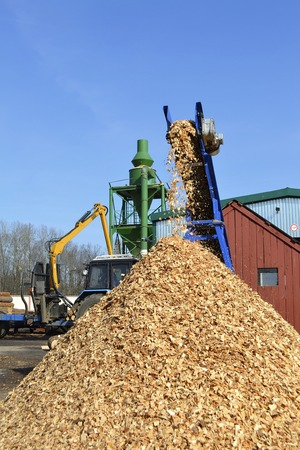 Woodchips strewed from transporter Stock Photo