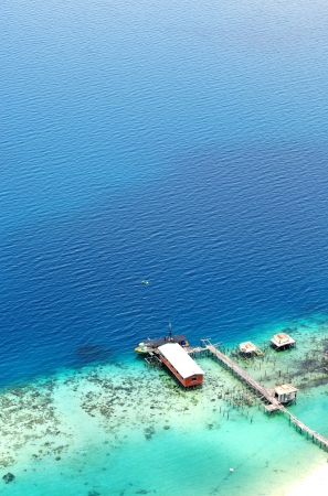 celebes: Turquoise ocean and jetty view from above Stock Photo