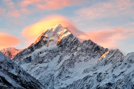 Mount Cook Sunset, South Island New Zealand  Stock Photo