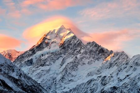 Mount Cook Sunset, Zuidereiland Nieuw-Zeeland Stockfoto