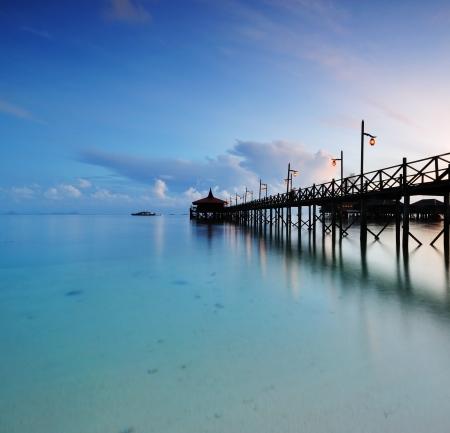 mabul: Wooden Jetty at sunrise, Mabul Island Sabah Borneo