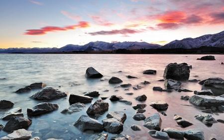 tekapo: Sunrise at Lake Tekapo South Island, New Zealand Stock Photo