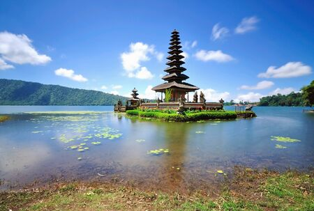 Long Exposure of Hindu Floating Temple Located Near Lake Bedugul in Bali Indonesia
