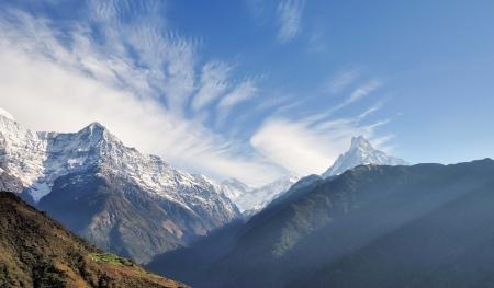 fishtail: View of Fishtail mountain and Hiunchili Annapurna Mountain Range Stock Photo
