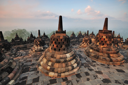 jogjakarta: Sunrise at Borobudur Temple Stupa Jogjakarta, Indonesia  Stock Photo